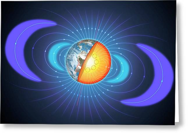 Schematic Of Van Allen Radiation Belts Greeting Card by Mark Garlick