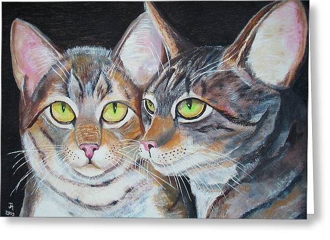 Greeting Card featuring the painting Scheming Cats by Thomas J Herring