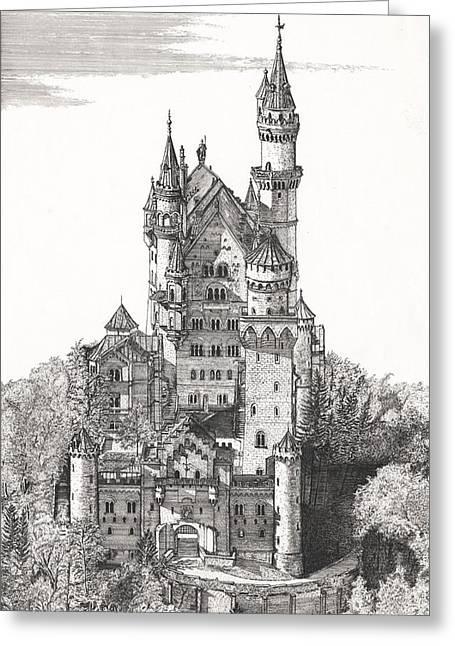 Schloss Neuschwanstein  Greeting Card by John Simlett
