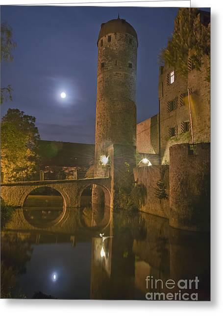 Schloss Sommersdorf By Moonlight Greeting Card