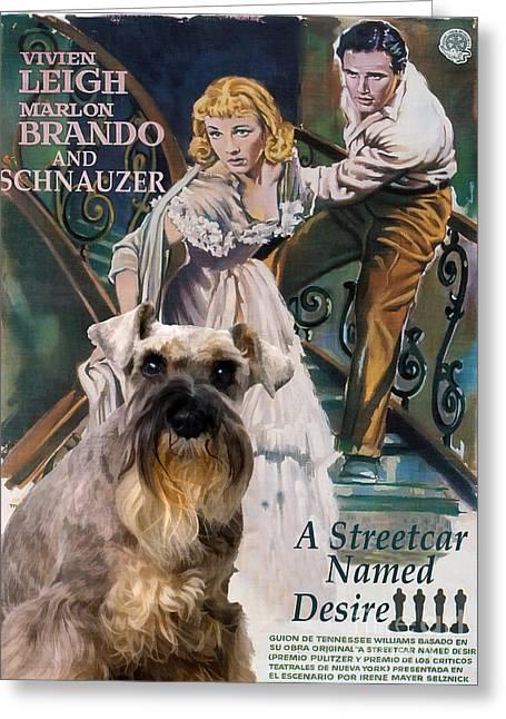 Schnauzer Art Canvas Print - A Streetcar Named Desire Movie Poster Greeting Card