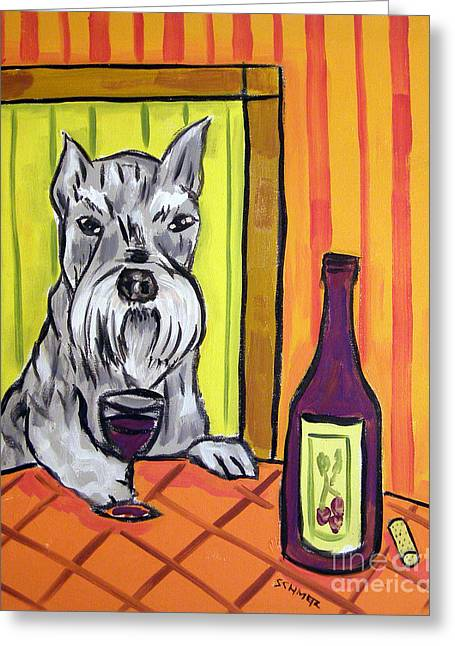 Schnauzer At The Wine Bar Greeting Card by Jay  Schmetz
