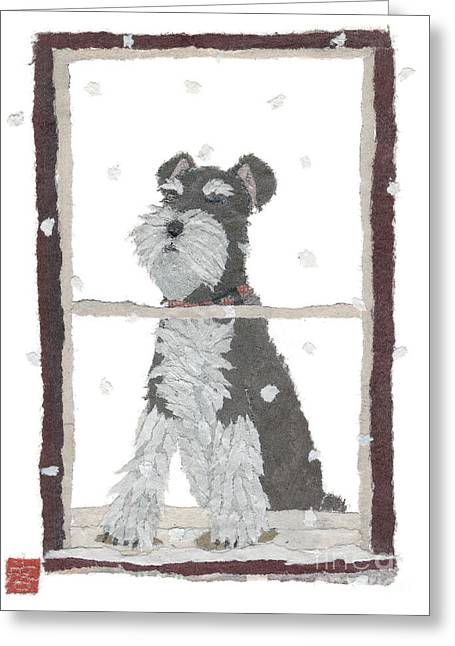 Schnauzer Art Hand-torn Newspaper Collage Art Greeting Card by Keiko Suzuki Bless Hue