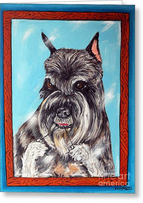 Schnauzer Flossing Greeting Card by Jay  Schmetz