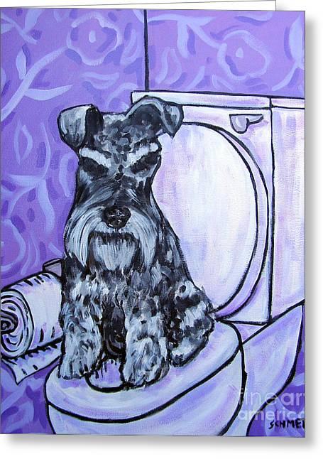Schnauzer In The Bathroom Greeting Card by Jay  Schmetz