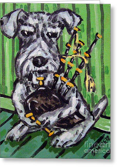 Schnauzer Playing Bagpipes Greeting Card by Jay  Schmetz