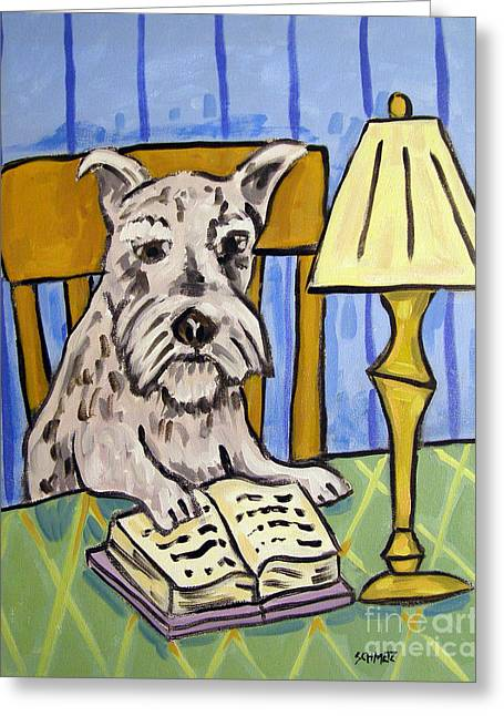Schnauzer Reading A Book Greeting Card by Jay  Schmetz
