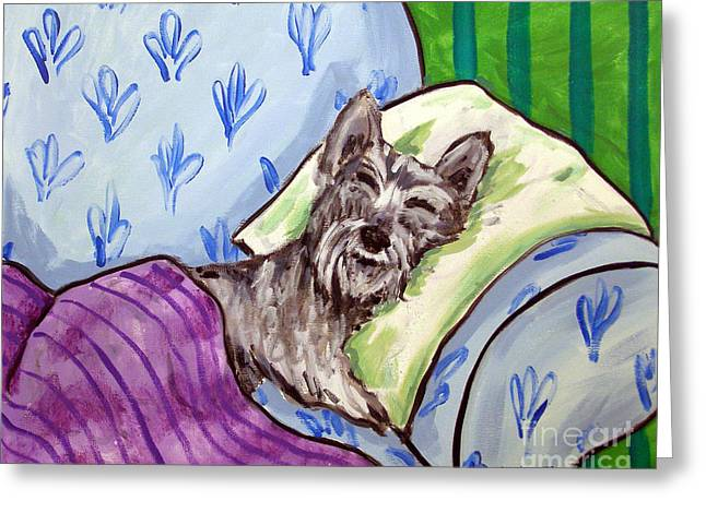 Schnauzer Sleeping Greeting Card by Jay  Schmetz