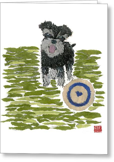 Schnauzer Art Hand-torn Newspaper Collage Art Dog Portrait Greeting Card by Keiko Suzuki Bless Hue