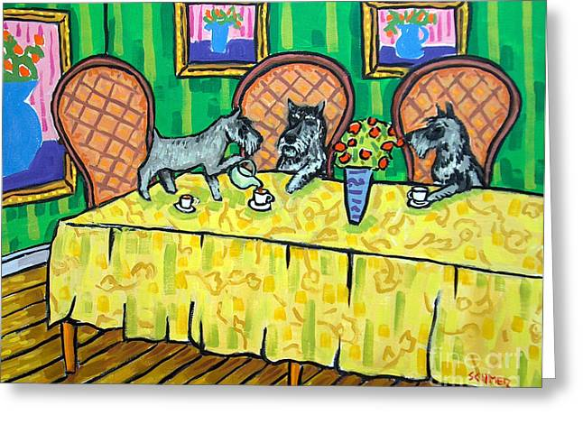 Schnauzers Tea Party Greeting Card by Jay  Schmetz