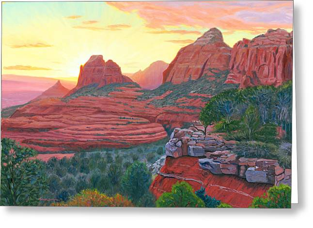 Schnebly Hill Sunset Greeting Card by Steve Simon