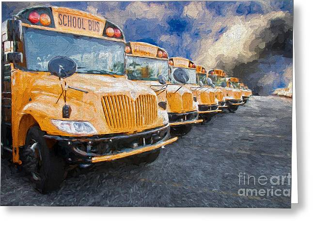 School Bus Lot Painterly Greeting Card