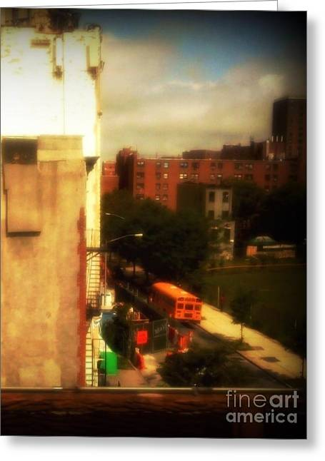 Greeting Card featuring the photograph School Bus - New York City Street Scene by Miriam Danar
