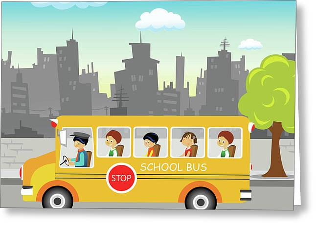 School Bus On Its Way Greeting Card