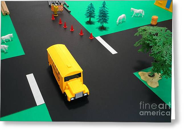 Obstacles Greeting Cards - School Bus School Greeting Card by Olivier Le Queinec