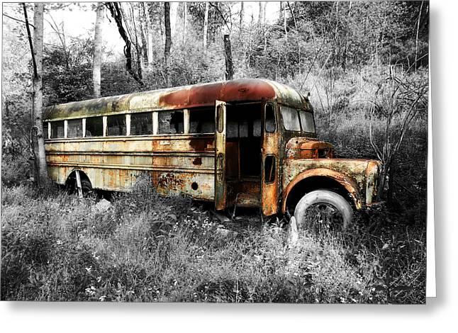 School Bus Greeting Card by Steven Michael