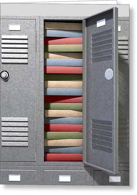 School Locker Crammed Books Greeting Card by Allan Swart