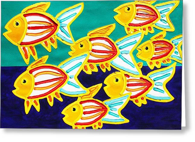 School Of Fish Greeting Card by Matthew Brzostoski