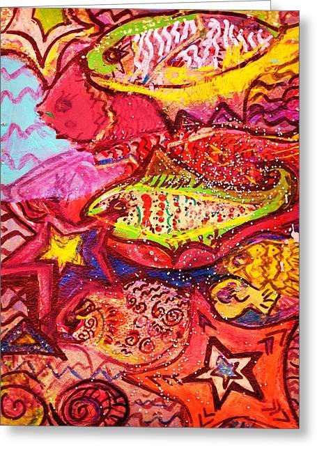 School Of  Happy Fishes Greeting Card by Anne-Elizabeth Whiteway