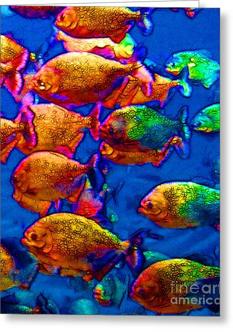 School Of Piranha V3 Greeting Card by Wingsdomain Art and Photography