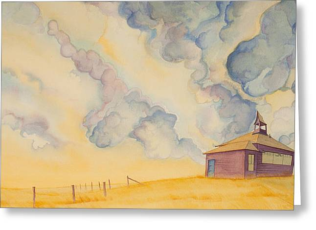 Greeting Card featuring the painting School On The Hill by Scott Kirby