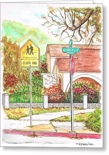 School Xing Sign In Santa Paula, California Greeting Card