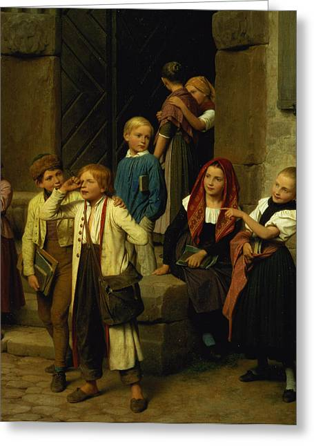 Schoolchildren Watching A Boy Cry Greeting Card by Friedrich Edouard Meyerheim