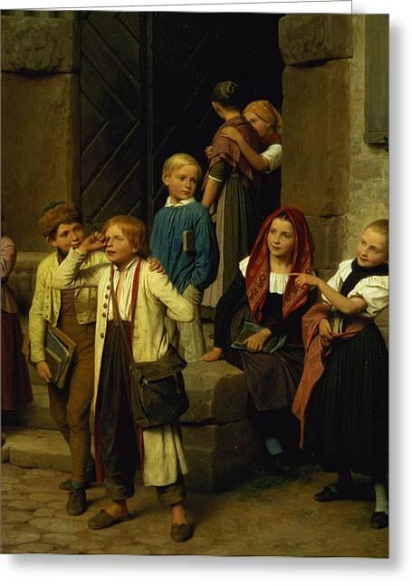 Schoolchildren Watching A Boy Cry Greeting Card