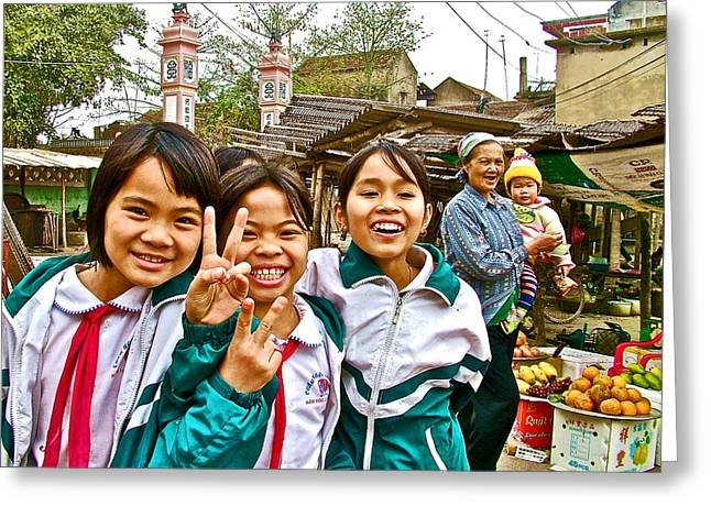 Schoolgirls Welcome Us To Tho Ha Village-vietnam Greeting Card by Ruth Hager