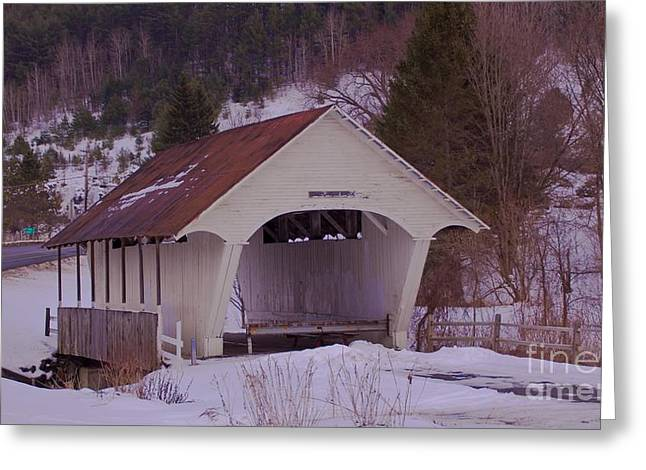 Schoolhouse Covered Bridge. Greeting Card