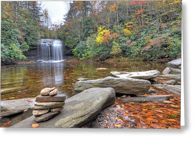 Schoolhouse Falls In Panthertown Valley Greeting Card by Mary Anne Baker