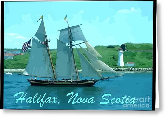 Schooner And Lighthouse Greeting Card