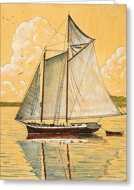 Schooner In The Bay Greeting Card by James Zeger