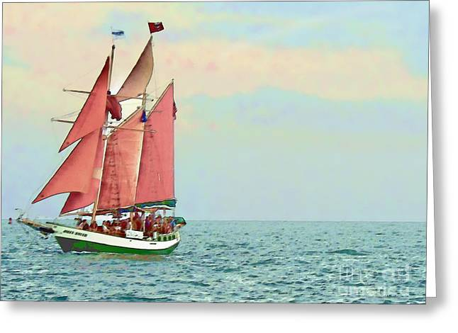 Schooner Jolly Rover Key West Greeting Card by Joan  Minchak