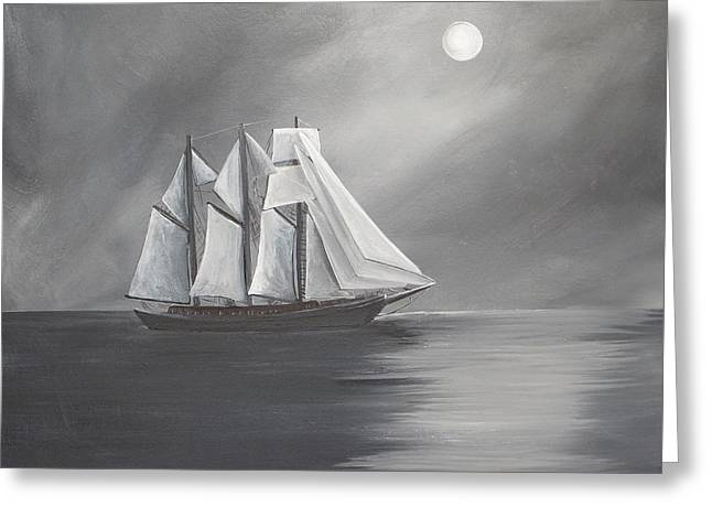 Schooner Moon Greeting Card by Virginia Coyle