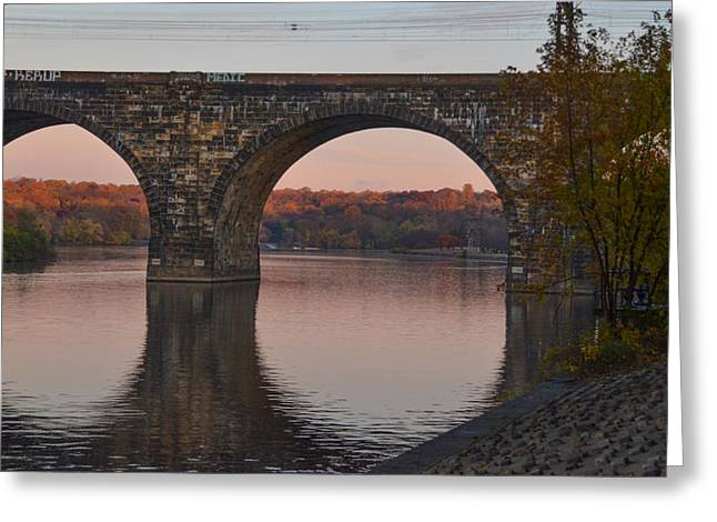 Schuylkill River Railroad Bridge In Autumn Greeting Card by Bill Cannon