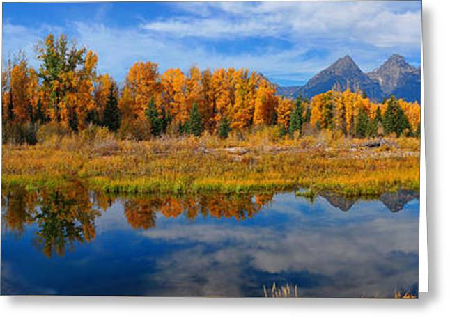 Schwabacher Autumn Reflections Panorama Greeting Card