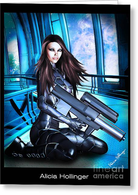 Sci-fi Brunette With A Big Gun Greeting Card by Alicia Hollinger