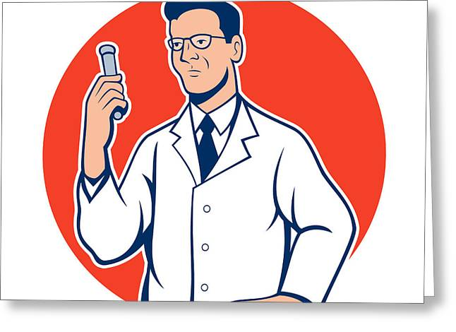 Scientist Lab Researcher Chemist Cartoon Greeting Card by Aloysius Patrimonio