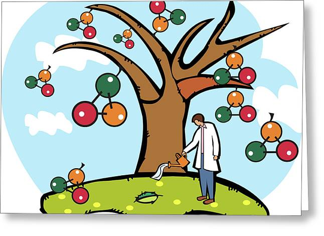 Scientist Watering An Atomic Structure Tree Greeting Card by Fanatic Studio / Science Photo Library