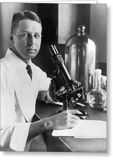 Scientist With Microscope Greeting Card by Underwood Archives