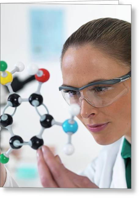 Scientist With Molecular Model Greeting Card by Tek Image
