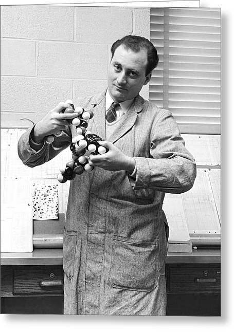 Scientist With Molecule Model Greeting Card by Underwood Archives