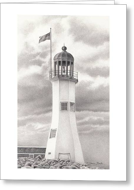 Scituate Light Greeting Card by Donna Basile