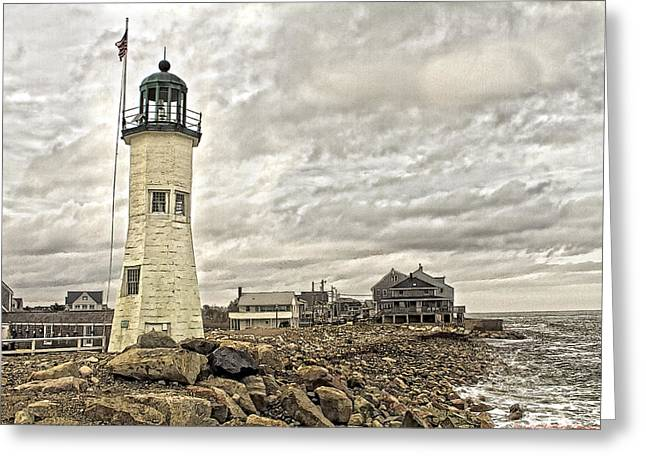 Greeting Card featuring the photograph Scituate Lighthouse by Constantine Gregory