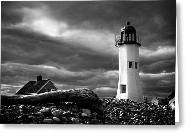 Greeting Card featuring the photograph Scituate Lighthouse Under A Stormy Sky by Jeff Folger