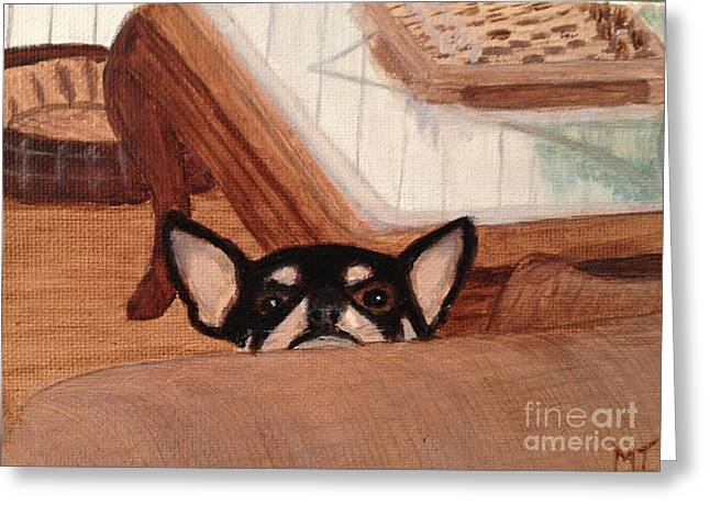 Scooter Peeking Over Couch Greeting Card by Michelle Treanor