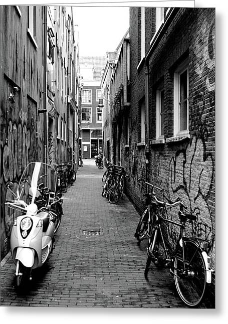 Scooters And Bicycles Parked Greeting Card by Panoramic Images