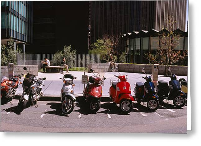 Scooters And Motorcycles Parked Greeting Card by Panoramic Images