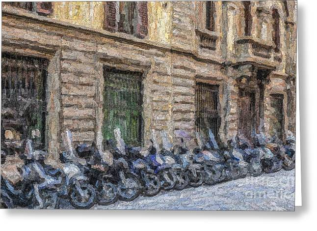 Scooters In A Florence Side Street Greeting Card